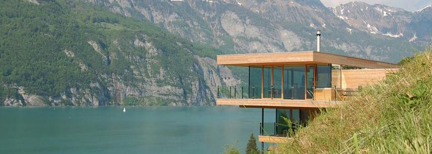"""Wooden house design"" Modern Wooden House Design with view to the Lake Modern Wooden House Design with view to the Lake walensee house 14"