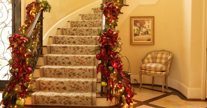Christmas decor ideas for stairs Christmas decor ideas for stairs Christmas decor ideas for stairs Suzy q better decorating bible ideas how to Christmas d  cor theme gold red garland ornaments leaves mantel living room stair case banister wrap around ribbons glitte