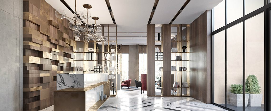 modern lobby Modern lobby in Moscow combines brass, marble & special lamps feautured moscow 1140x470