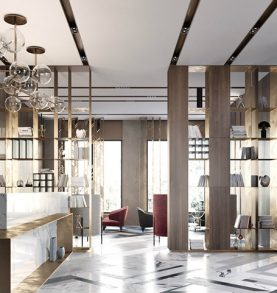 Modern lobby in Moscow combines brass, marble & special lamps