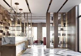 Modern lobby in Moscow combines brass, marble & special lamps modern lobby Modern lobby in Moscow combines brass, marble & special lamps feautured moscow 278x193