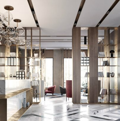 Modern lobby in Moscow combines brass, marble & special lamps modern lobby Modern lobby in Moscow combines brass, marble & special lamps feautured moscow 405x410
