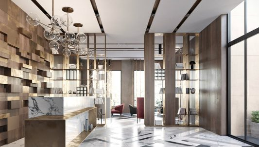 Modern lobby in Moscow combines brass, marble & special lamps modern lobby Modern lobby in Moscow combines brass, marble & special lamps feautured moscow 533x302