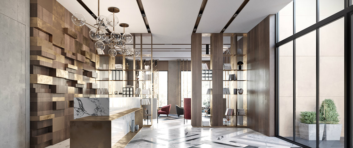 Modern lobby in Moscow combines brass, marble & special lamps modern lobby Modern lobby in Moscow combines brass, marble & special lamps feautured moscow
