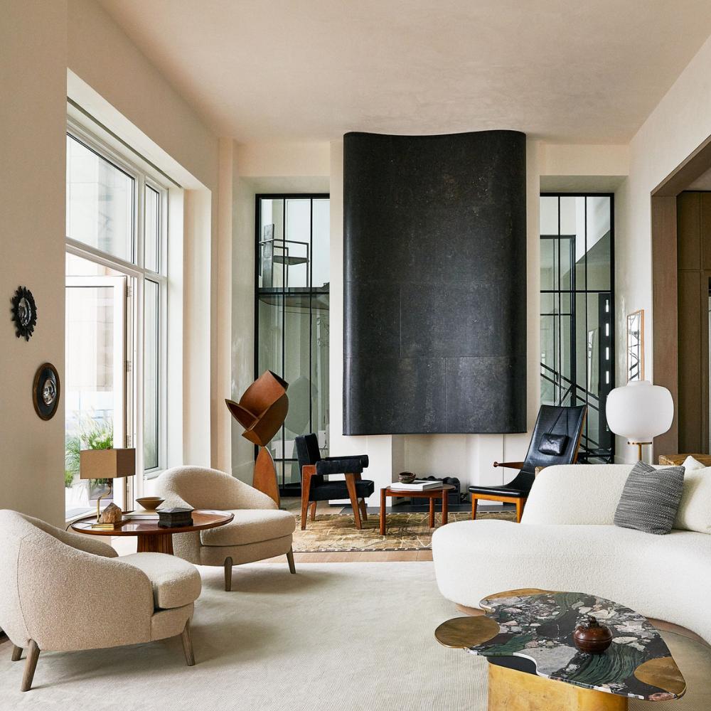 Modern Design Living Room With Neutral Tones monique gibson Designer Monique Gibson Designs a Tribeca Aerie in Cream Tones Design sem nome 1